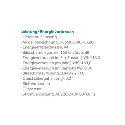Samsung UE65KU6409 163 Cm (65 Zoll) 4k Fernseher   3