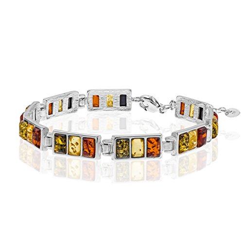 Copal Damen Bernstein Armband Echt Silber Natur Bunt Längen-verstellbar Schmucketui Valentinstag Geschenk