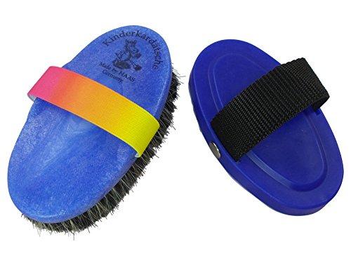 haas-kinder-2er-set-in-blau-regenbogen-kardatsche-mit-rosshaar-und-gummiband-in-regenbogenfarben-str