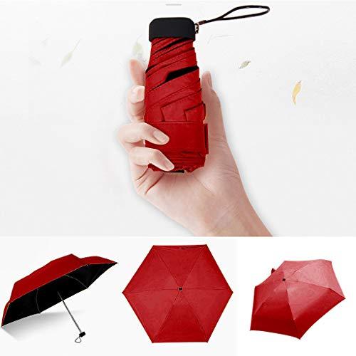 FENSIN Ultra Light Mini kompakte taschenschirm Reise Regenschirm - Winddicht Tragbar Sonnenschirm Sonne & Regen Outdoor Golf Regenschirm UV- Schutz für Damen Herren Kinder (Rot)