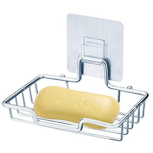 NNNKO Seifenschale Halter Wall Mounted Self Adhesive Edelstahl Nagelfrei Kein Bohren Schwamm Halter für Badezimmer Dusche Küche Lagerregal