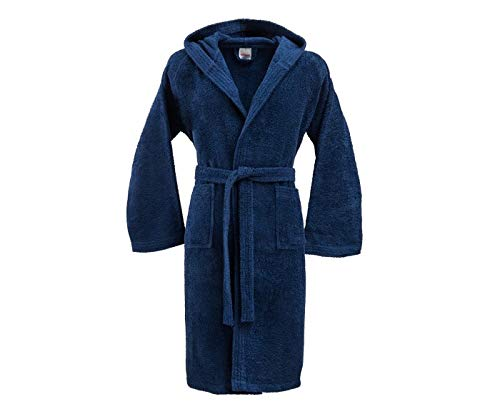 Bassetti accappatoio con cappuccio in cotone uomo donna made in italy disponibile in varie taglie e colori (blu navy, taglia xxxl, 185 cm)