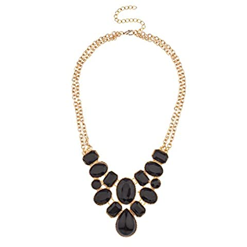 Lux Accessories Black Faceted Stone Cluster Double Chain Link Statement Bib Necklace