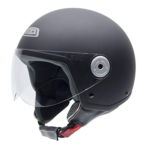 NZI Vintage II Casco de Moto, Negro(Negro Suave), 58 (L)