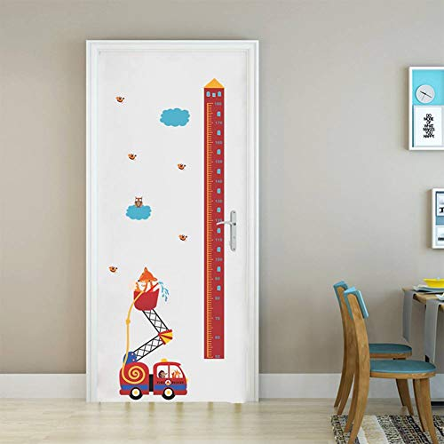 HGJGJY Wandaufkleber Tiere Feuer Rettungswagen Höhe Maßnahme Wandaufkleber Für Kinderzimmer Wachstum Chart Hause Tür Decor PVC Wandbild Wandkunst Aufkleber - Chart Tür Wachstum