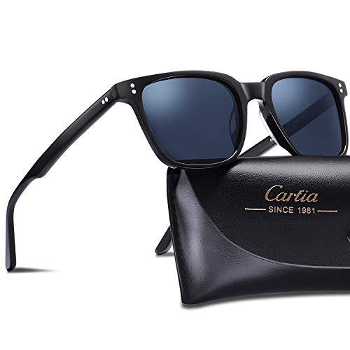 Carfia Polarisierte Damen Sonnenbrille UV400 Schutz Outdoor Brille für Autofahren Angeln Freizeit Acetat Rahmen (Eckiger Rahmen: Schwarz; Linsen: Dunkelblau)
