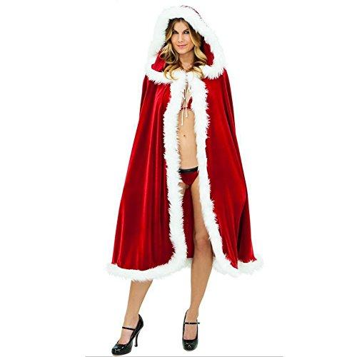 Imagen de hombre y capa de las mujeres de disfraces disfraz de halloween cosplay party papá noel, red + white, 1 m