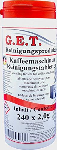 GET Spezial Reinigungstabletten für Kaffeevollautomaten und Espressomaschinen (240 Tabs á 2,0g)