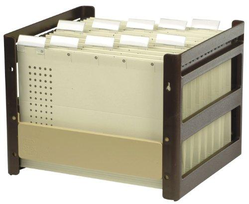 ELBA 100552054 Hängeregistraturkorb go fix gefüllt 1 Stück Aus PS-Kunststoff mit 10 Hängemappen für ca. 30 DIN A4 Hängemappen braun