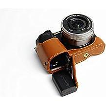 Versión de apertura inferior protectora del cuero genuino de la cámara real La mitad de la cubierta del bolso con el trípode de diseño para Sony ILCE6000 cámara A6000 con la mano genuina de cuero real de la correa de Brown