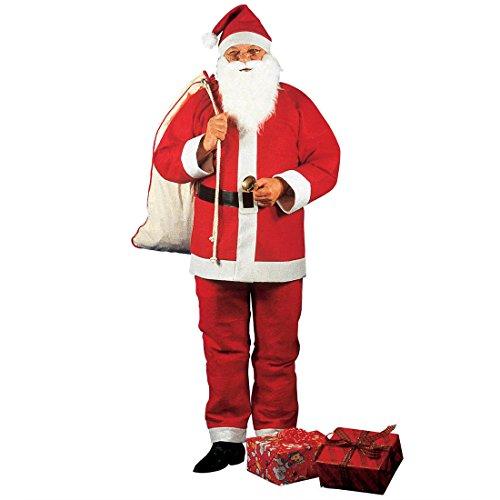 bestehend aus Jacke, Hose, Mütze, Gürtel, Bart und Schnurrbart Komplettkostüm Weihnachtsmann Weihnachtsmannkostüm Knecht Ruprecht Verkleidung Santa Claus Outfit (Komplette Santa Anzug Für Erwachsene Kostüme)