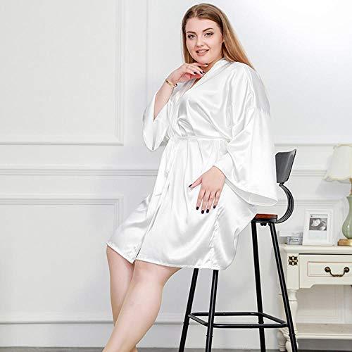 Home + Bathrobe Silk Kimono Robe Bademantel Frauen Satin Brautjungfer Hochzeit Roben Sexy Morgenmäntel Für 100 Kg Nachtwäsche Weiß Schwarz @ White_4XL - Stricken Kimono-robe