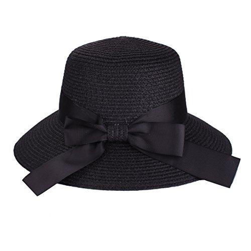 Floppy Hat Sommer Strand Sonnenstroh Hüte Anti-UV schutz Hut UPF 50+ Faltbarer breiter Rand Hut Reise Packable Kappe für Frauen (9209 Schwarz) (Misst Gesicht)