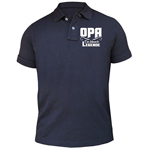 Männer und Herren POLO Shirt OPA die lebende Legende (mit Rückendruck) Dunkelblau