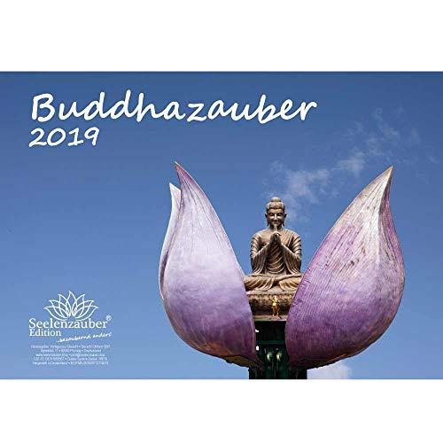 Buddhazauber · DIN A4 · Premium Kalender 2019 · Buddha · Weisheit · Lehre · Wiedergeburt · Indien · Siddhartha Gautama · Geschenk-Set mit 1 Grußkarte und 1 Weihnachtskarte · Edition Seelenzauber