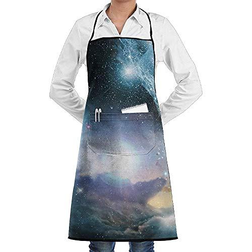 Kostüm Nebula Space - Latzschürze,Space Nebula Galaxy Star Schürze Spitze Adult Chef Einstellbare Lange vollschwarze Küche Schürzen Lätzchen mit Taschen für Restaurant Backen BBQ