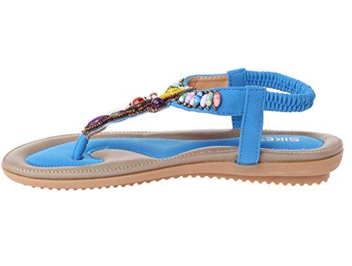 Vogstyle Damen Sommer Bohemia Sandalen Zehentrenner Clip Toe Flip Flops Strand Schuhe Art 2-Blau