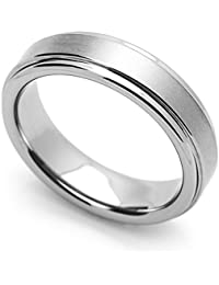 Little Treasures 5MM Comfort Fit Tungsten Carbide Wedding Band Brushed Center Grooved Edges Ring Cobalt Free