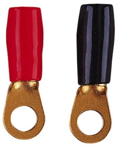 Rot / Schwarz Gold überzogene Falz-Art Ring Terminal 8,5 mm Ring für 6 mm Kabel (Woofer Kopfhörer)