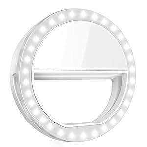 Criacr Selfie Ring Licht, 36 LED Selfie Licht, Selfie Enhancing Licht, Selfie Kamera Licht, Clip-On LED Ringlicht mit 3 Einstellbare Helligkeiten, USB Wiederaufladbar Handy Licht für alle Handys
