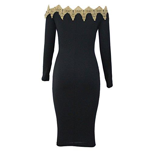 PU&PU Femmes Sortir / Fête / Cocktail Club Bordure Off Shoulder Bodycon Dress, à manches longues creux Black