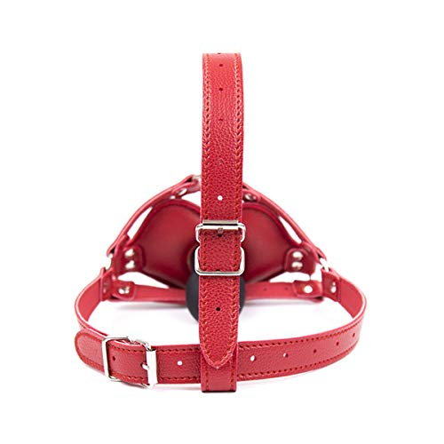 SM Kopfharness Leder mit Dildo-Knebel Rot Bondage Maske,Geschirre Kopfmaske Ledermaske Einstellbar Sklave Sex Spielzeug für Paar