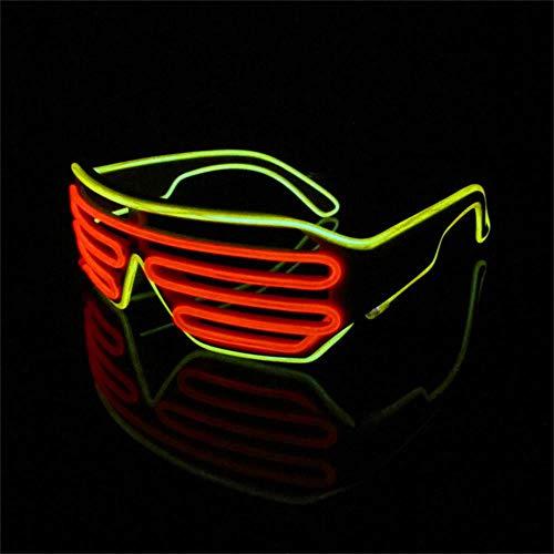 Lerway Weißen Rahmen 2 Farbe EL Wire Leuchtbrille LED Drahtbrille Brillen + Voice Control Box für Weihnachten Tanzen Party Nacht Pub Bar Klub Rave (rot + gelb)