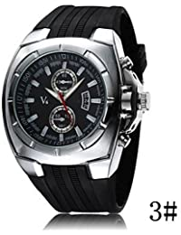 Relojes Hermosos, Serie v6 correa de silicona de moda falsa dos hombres tabla de negocios reloj deportivo ( Color : # 3 , Género : Para Hombre )