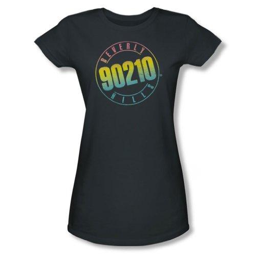 Beverly Hills 90210 - Color Blend Logo jungen Frauen T-Shirt in der Holzkohle, Large, Charcoal (Beverly Hills 90210-shirt)
