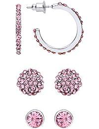 Front Row pendientes mujer conjunto de tres color de plata con cristales rosas y anillos