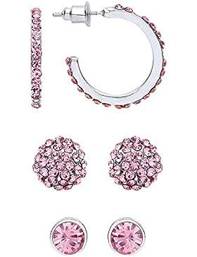 Front Row Damen-Ohrringe und -stecker Set silberfarben mit drei pinken Kristallen und Ringen