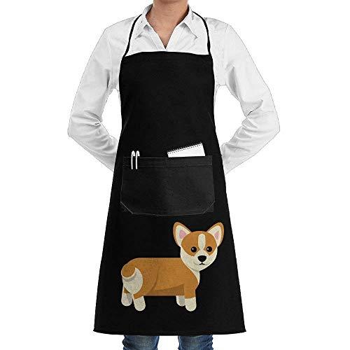 Black Apron Hairdresser Farmhouse Apron with Pocket Chef Apron for Women Kitchen Kitchen Accessories Corgi Dog Cute White Chef Apron