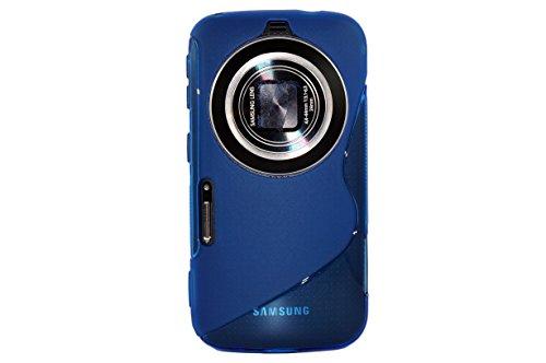 MoreGift4U Ultra Slim Thin TPU Silikon-Gel Soft Jelly Schutzmaßnahmen zurück Fall-Abdeckung für Samsung Galaxy S5 Zoom Zoom K SM - C115 + Displayschutzfolie - Blau