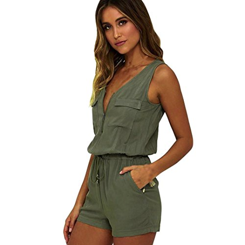 HCFKJ Kleid Damen Sommer 2018 Mode Frauen Overall ärmellose Hosen Bodysuit Top (S, Green) (Klappbar Top)