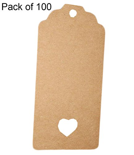 Leisial 100pcs Tarjetas Decorativas de Papel Kraft Etiquetas de Regalo