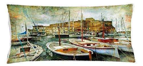 ABAKUHAUS İtaliano Copricuscino, Barche A Napoli, per Uso Interno ed Esterno, 90 x 40 cm, Multicolore