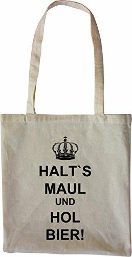 Mister Merchandise Tasche Halt´s Maul und hol Bier Stofftasche , Farbe: Schwarz Natur