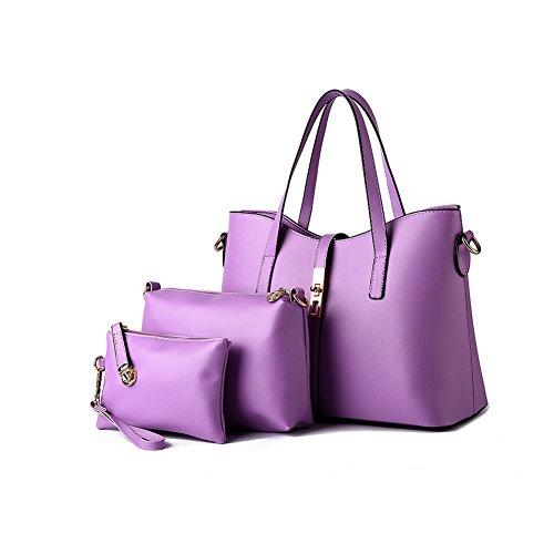 xiaoxuan im europäischen Stil PU Leder Fashion Schultertasche 3Messager Tasche One Set Mutter Kinder Tasche, beige (Beige) - BG00011K violett