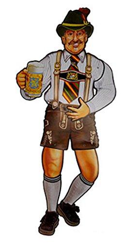 erdbeer-party - Party 3d Wand Deko Oktoberfest, Lederhosen-Mann, Höhe 92 cm, bewegliche Teile, (Das Deutsche Bier Mädchen Kostüm)