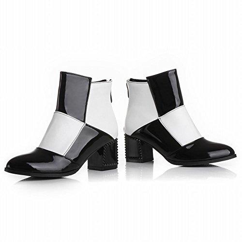 Mee Shoes Damen Reißverschluss mehrfarbig chunky heels Stiefel Weiß