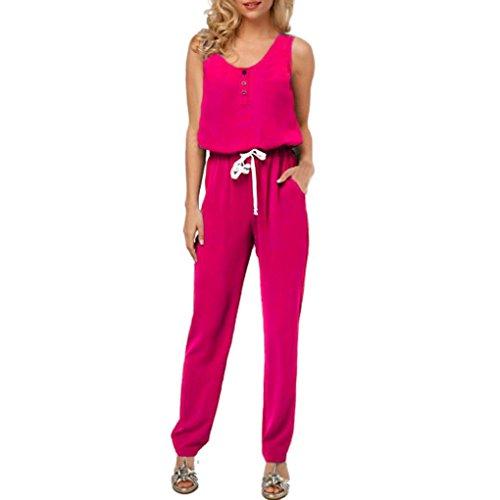 LuckyGirls Elegant Damen Jumpsuit Chiffon Lang Hosen V-Ausschnitt Kurzarm Frauen Overall Party Abendmode (Hot pink, S)