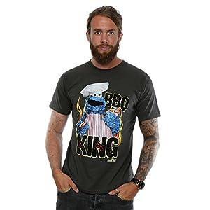 Sesame Street Herren Cookie Monster BBQ King T-Shirt X-Large Licht Graphite