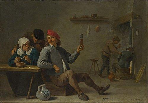 Das Museum Outlet–David Teniers der Jüngere–Ein Mann hält ein Glas und eine alte Frau Beleuchtung eine Pfeife, gespannte Leinwand Galerie verpackt. 50,8x 71,1cm