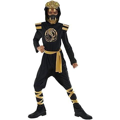 Niño Negro Y Dorado Serpiente Ninja Día Del Libro Halloween Japonés Disfraz 4-12 años
