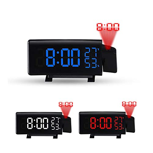 TIB Heyne Projektion Alarm Uhr Digital Fm Radio Alarm Alarm Clock Adjustable Projektor Mit Thermometer Hygrometer USB Charging Port Bedside Projektion Zoom Bedroom Office