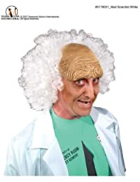 Mr178031 Mad Scientist Fluffy Wig White Balding Latex Headpiece