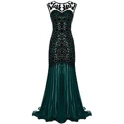 FAIRY COUPLE 1920s La Longitud del Piso V-Back Vestido de Noche con Adornos de Lentejuelas D20S004(S,Verde Oscuro)