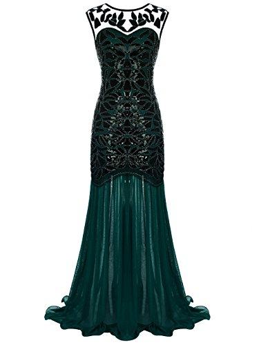 (FAIRY COUPLE 1920 Bodenlänge V-Rücken Pailletten verschönert Abschlussball Abend Kleid D20S004(XL,Dunkelgrün))