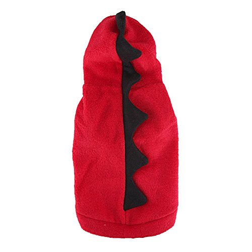 Animally® Hunde Dino Kostüm - Dinosaurier Halloween Karneval Kostüm - Warmer Pullover Hoodie (XL, Rot) (Pullover Halloween-hund)