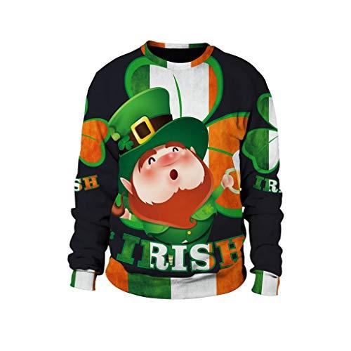 Qinhanjia Unisex New 3D Gedruckt St. Patrick\'s Day Bluse Fashion Casual Tops Sweatshirt, 3D Gedrucktes Herren Sweatshirt Zum St. Patrick\'s Day 【A】